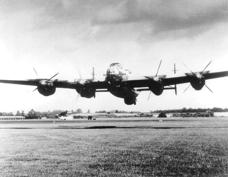 A low flying RAF Avro Lancaster.