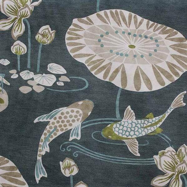 Koi Pond Teal Blue Drapery Fabric 134koitea Buyfabrics Com