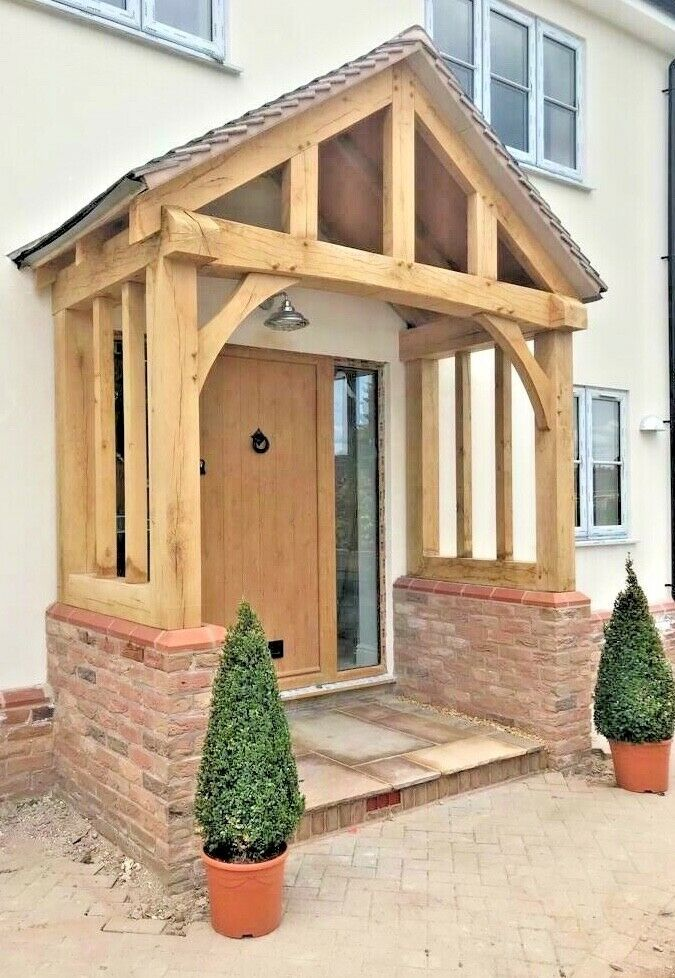 Solid Oak Porch Doorway Wooden Porch Canopy Entrance Self Build Kit Porch In 2020 Front Door Canopy Wooden Porch Door Canopy Porch