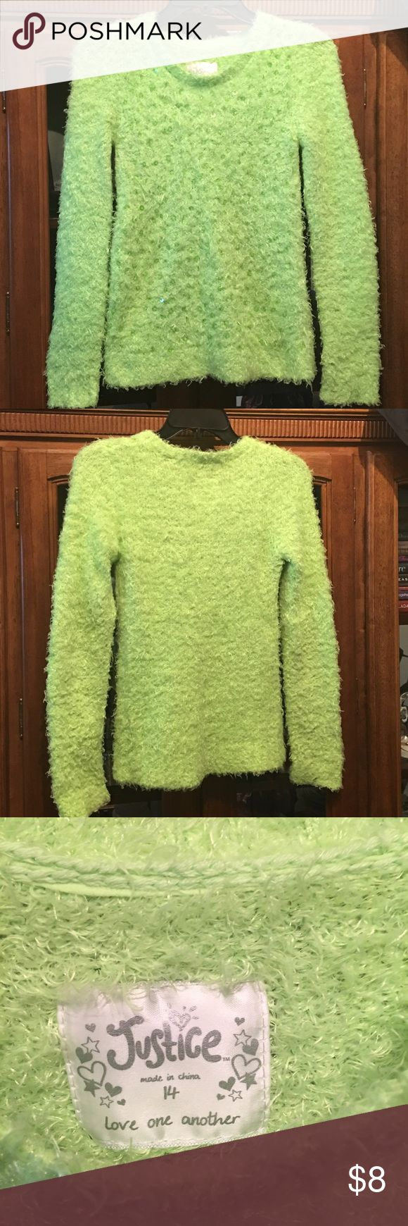 Justice girls fuzzy sweater Justice girls lime green super soft fuzzy long sleeve sweater with bling on front. No trades Justice Shirts & Tops Sweaters