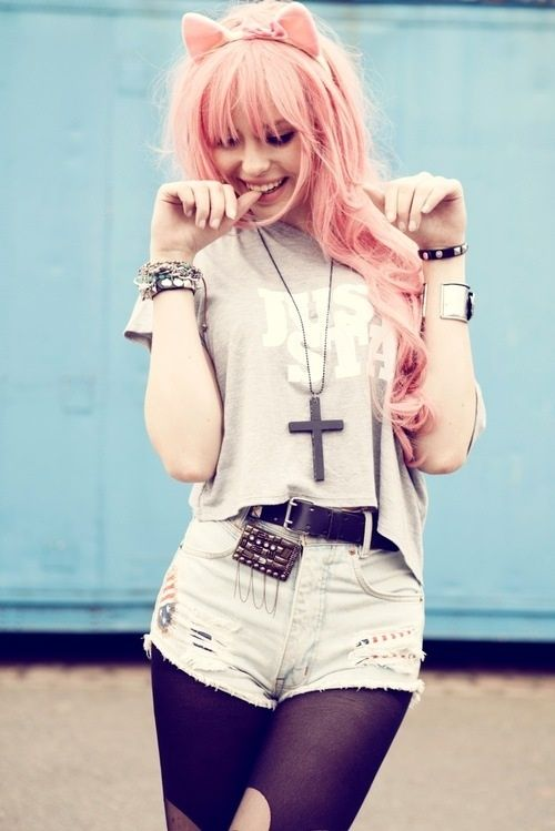 #grunge #fashion #hipster #catears #coloredhair #denim #pink #love #tights #cross #jewelry #studs #shorts #chain #cute #girl #teen #pretty #rough #juststay #pose #bracelet #softgrunge #jeanshorts #distressedjeans #pink #blue #crossnecklace #cross #hipsta #smile #women #womensfashion #love #quote #clothes #clothing #style #tumblr #tumblrgirls