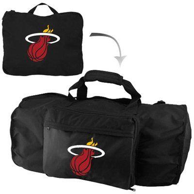 Miami Heat Black Fold-Away Duffel Travel Pack