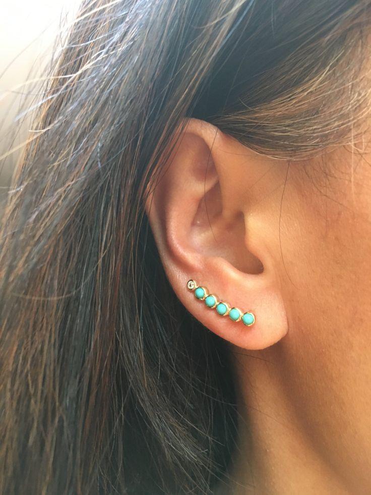 SALE WAS 50.00 Turquoise Ear Climber, Ear Crawler, Ear Pin, Turquoise Earrings, Turquoise Jewelry, Gold Ear Climber