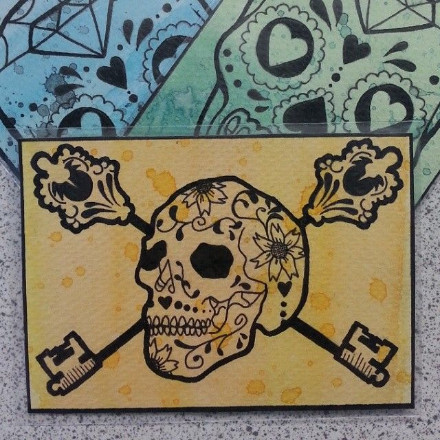 Sugar Skull ATC series - Orange