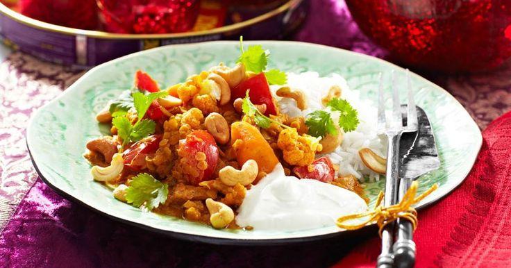 Vegetarisk gryta med linser och grönsaker. Härlig doft av koriander och spiskummin.