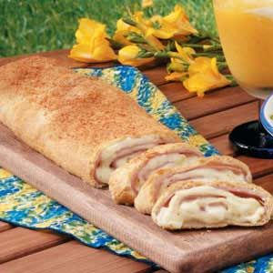 "Mozzarella Ham Stromboli Recipe -""The original recipe for this savory bread called for salami, but I use ham instead,"" writes Janice Brightwell of Jeffersonville, Indiana. ""People are always amazed that it only takes about 15 minutes to assemble. I usually serve it with tomato soup."""