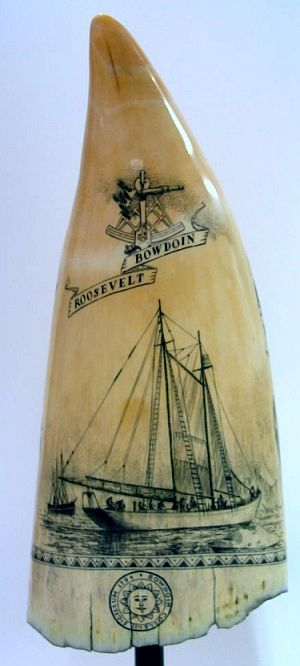 Explorers of the Arctic (reverse side). The schooner Bowdoin is in the foreground. This vessel was used by MacMillan during his travels in the Arctic. It is still in use at the Maine Maritime Academy. In the background is the Roosevelt, the ship used by Peary when he traveled to the North Pole. The Bowdoin College seal is at the base.