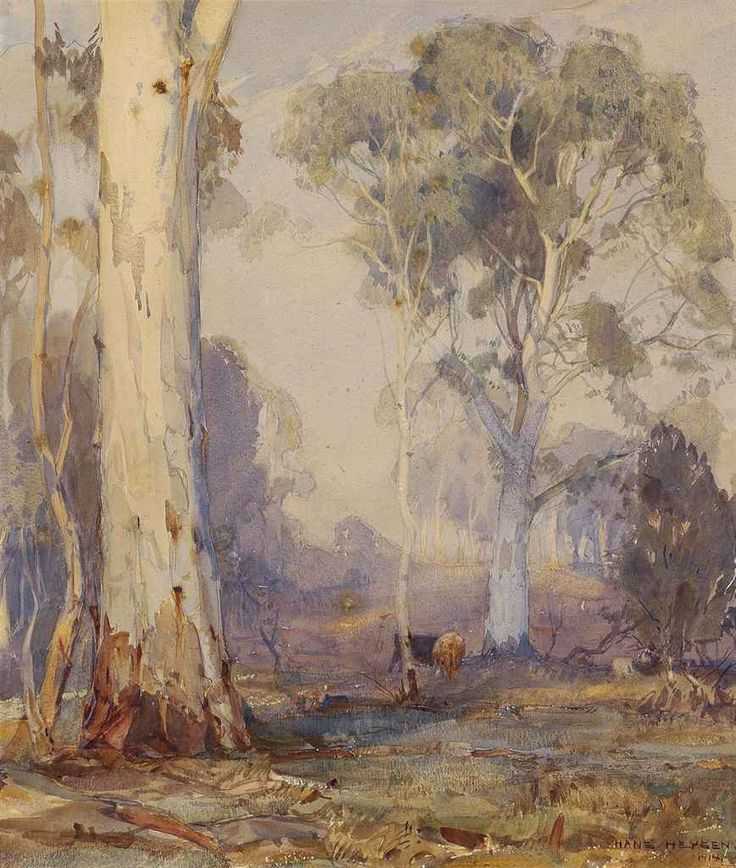 Hans Heysen (Australian, 1877-1968), White Gums, 1914. Pencil and watercolour on paper, 16¾ x 13¾in.
