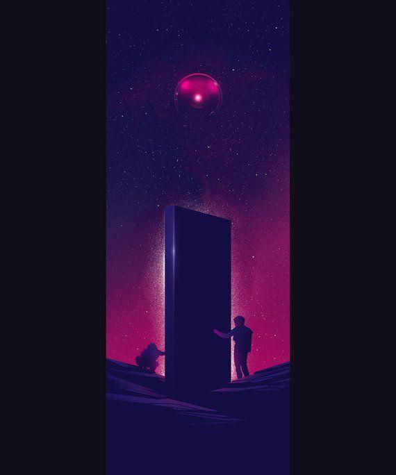2001 A Space Odyssey Monolith Art Print Design Etsy Art Space Odyssey Neon Art