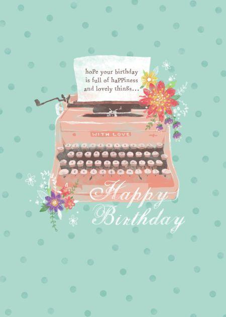 Claire Mcelfatrick - Floral Typewriter Birthday