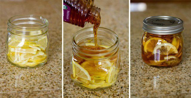 "Winter sore throat ""tea"". In a jar, combine lemon slices, organic honey and sliced ginger. Close jar and put it in the fridge, it will form into a ""jelly"". To serve: Spoon jelly into mug and pour boiling water over it. Store in fridge 2-3 months."