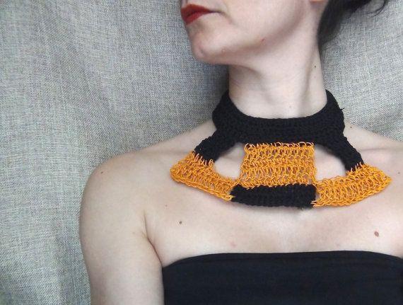 Paper yarn necklace orange and black crochet by WearitCrochet