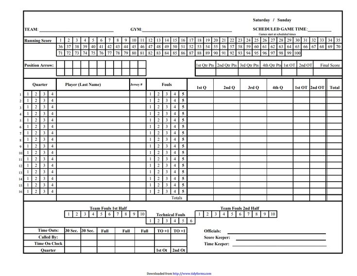 Basketball Score Sheet Pdf  Places To Visit    Scores