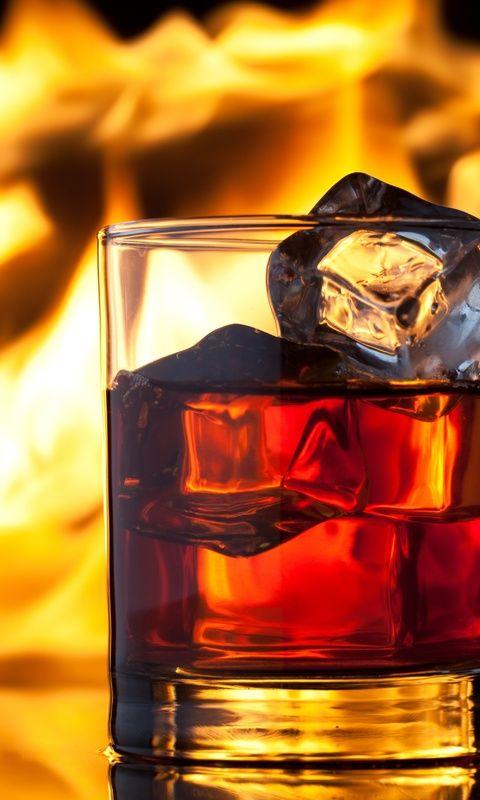 пламя, огонь, лед, Виски, напиток, бокалы