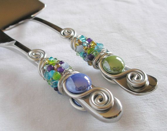 PEACOCK - Beaded Wedding Cake knife and server Serving Set - Purple, Green, Gold & Blue glass beads,  Swarovski crystals