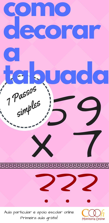 Como decorar a tabuada. Nunca mais perca tempo com continhas. #matematica #dicasdeestudo #enem #como #estudo #estudogram