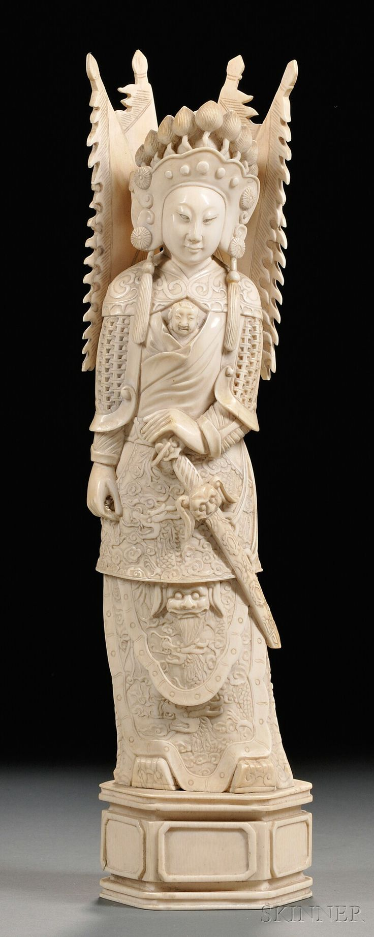 Ivory Carving China Tall Standing Figure Of A Warrior Holding A Sword And Dagger Carved
