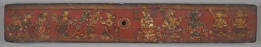 """""""Pintura hecha en el siglo XII.Las convenciones pictóricas de siluetas dibujadas con línea de trazo negro sobre fondo rojo piso, marca los inicios del estilo indio occidental. Representado en el interior de las cubiertas son escenas de dignatarios, probablemente ilustra acontecimientos de la vida de un jina como se describe en la literatura hagiográfica. Alternativamente, pueden representar la escena culminante de la historia en la que la princesa Damayanti escoge a su futuro esposo, Nala."""""""