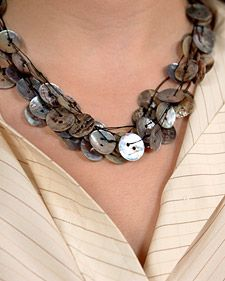 Very pretty button necklace.