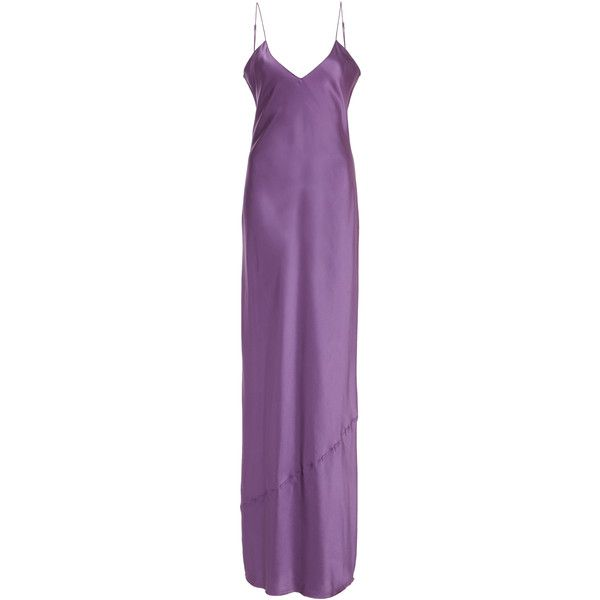 NILI LOTAN Silk Charmeuse Cami Gown ($595) ❤ liked on Polyvore featuring intimates, sleepwear, nightgowns, purple, purple cami, purple nightgown, purple camisole, camisole sleepwear and nili lotan