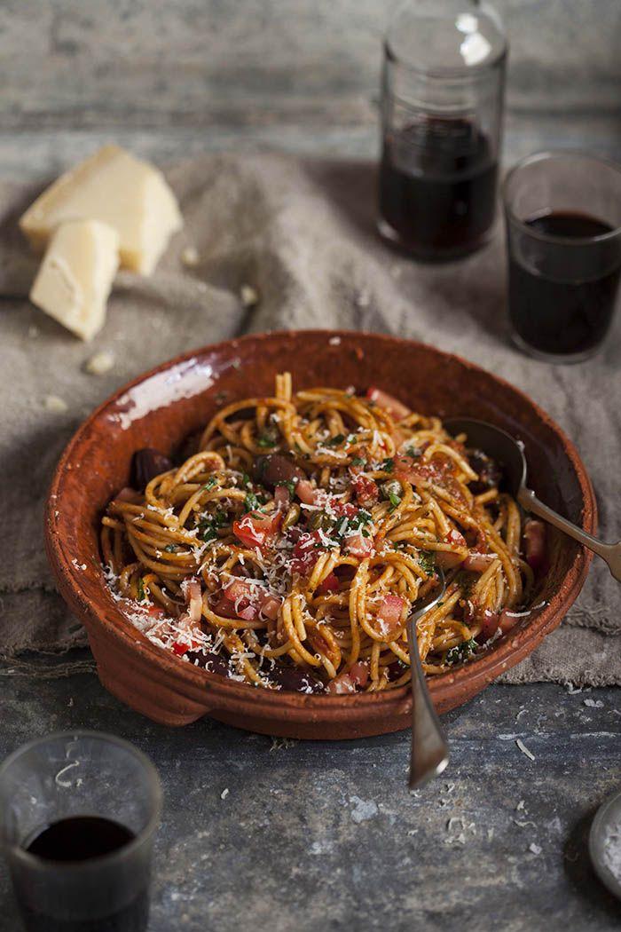 Spaghetti Puttanesca on DrizzleandDip.com | photography - Samantha Linsell