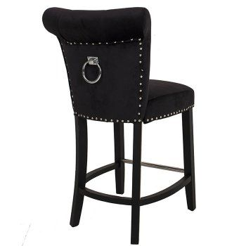 Black Velvet Knocker Back Studded Bar Stool Bar Stools Bar