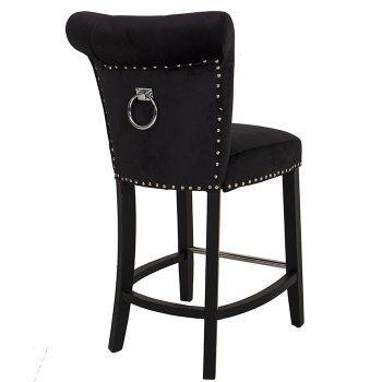 Black Velvet Knocker Back Studded Bar Stool | Dining Rooms ...