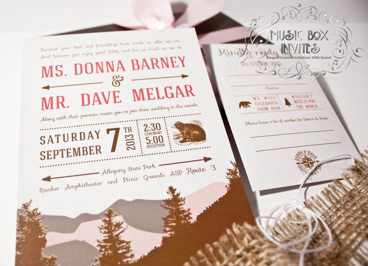 Musical Wedding Or Party Invitation And RSVP Card For Northern Mountain Event Brown Nature Outdoor Pink White Comes In Box That Sings