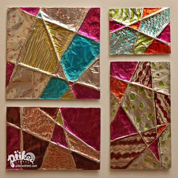 Foil Art- cut notches around cardboard square.  Wrap yarn randomly across into notches.  Cover with foil & decorate with sharpies.