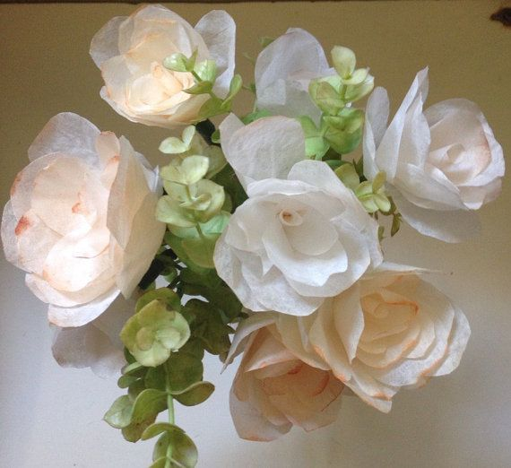 Rustic Chic Burlap and Lace Paper Floral Arrangement / Coffee Filter Floral Arrangement Arrangement comes with 9 handcrafted coffee filter flowers all ranging between 2-2.5 in. in diameter, cut to hold a rose like appearance, and colored with a rustic feel using soft tones of brown and