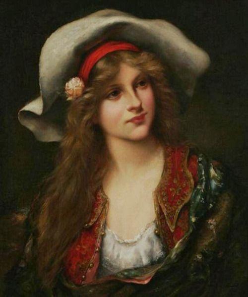 Франсуа Мартен-Кавел Молодая красавица с дискеты шляпе