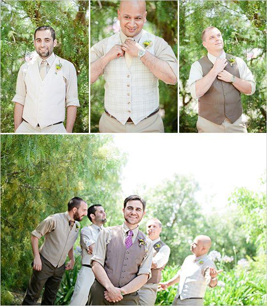 very dapper! groomsmen in different vests for wedding