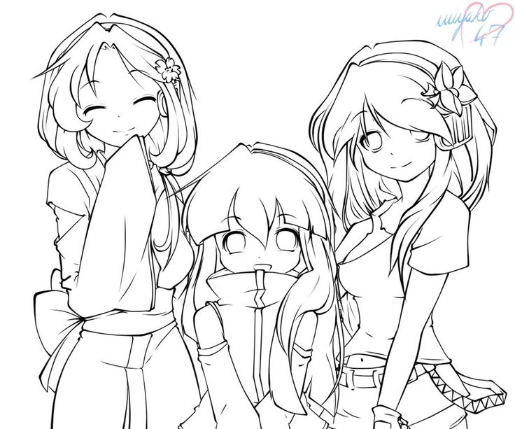 floating lineart preview by magini on deviantart color peopleladies pinterest konst och deviantart - Friends Anime Coloring Pages