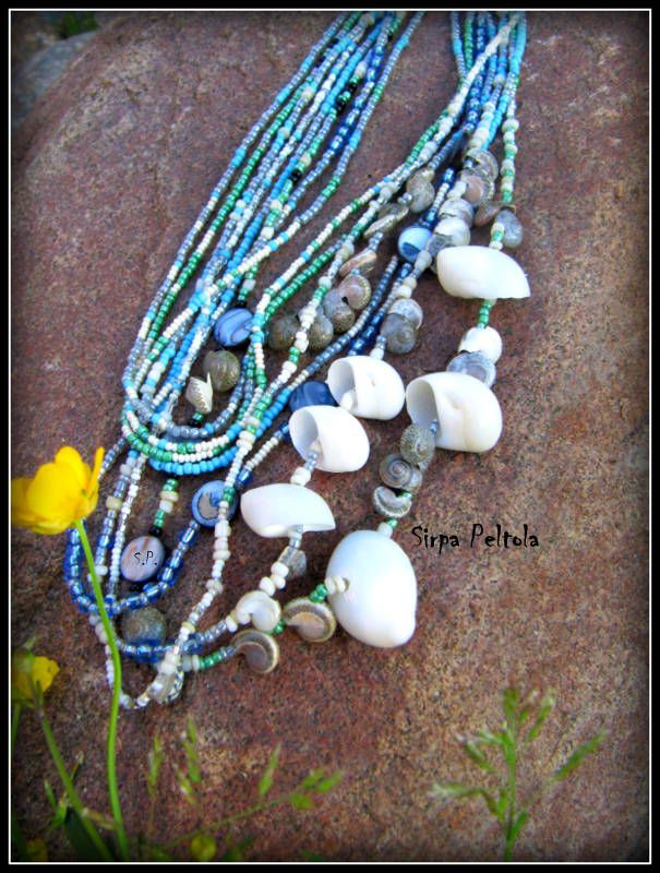 """Sinisiä Kuohuja"",  ""Blue Waves""  Necklace made of seed beads, some MOP coin beads and seashells."