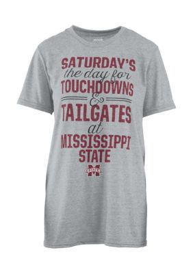 Royce Mississippi State Bulldogs Touchdowns And Tailgates Melange Short Sleeve Tee Shirt - Heather Gray