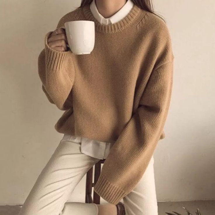 Casual Round Neck Long Sleeve Plain Sweater