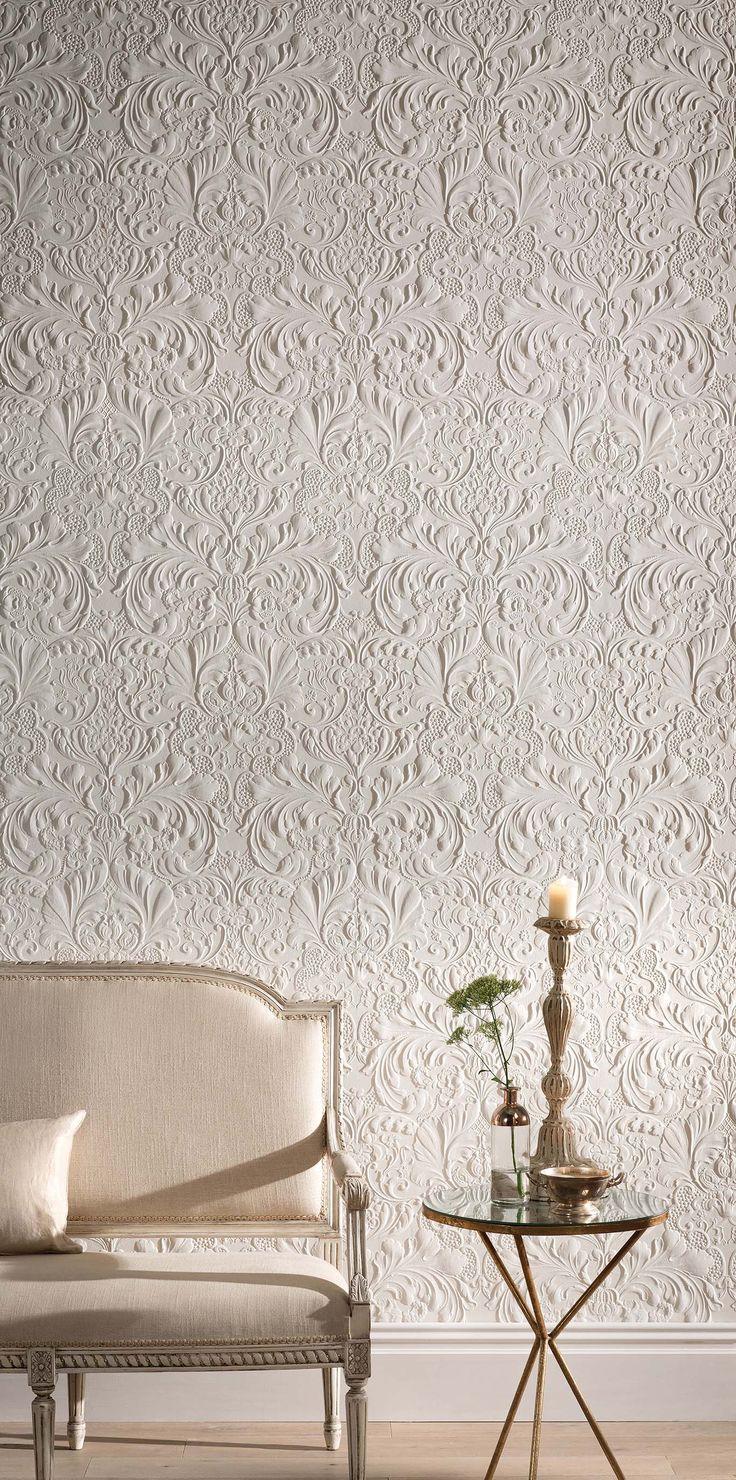 Romantic Wallpaper with Damask Structure. Lincrusta. Essener. Wirz Tapeten AG