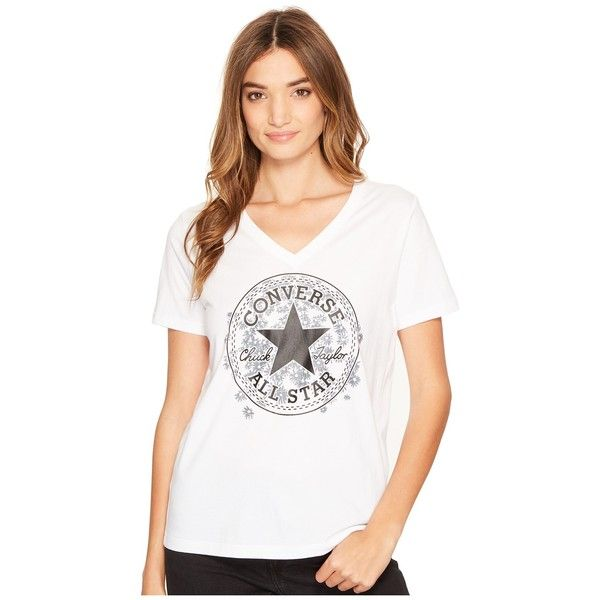 Converse Daisy Chuck Patch V-Neck Short Sleeve Tee (White) Women's T... ($20) ❤ liked on Polyvore featuring tops, t-shirts, v neck tee, cotton t shirts, white cotton tee, floral t shirt and cotton tee