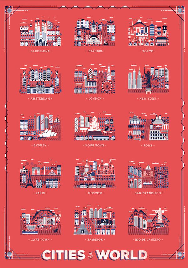 Bold, Striking Posters Depict The Famous Landmarks Of Cities Around The World - DesignTAXI.com