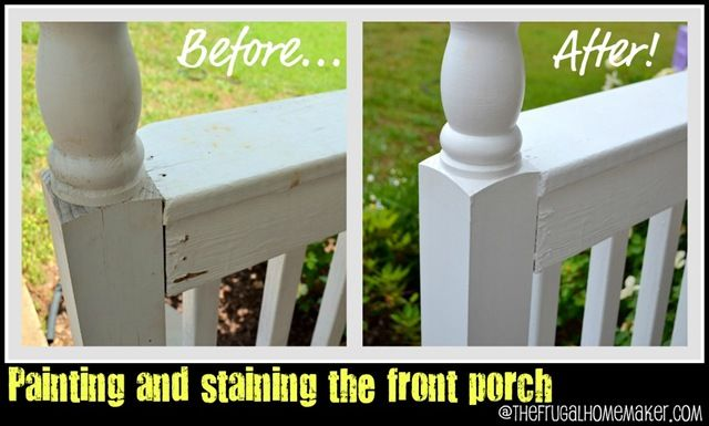 Re-do of front porch part 1–paint and stain