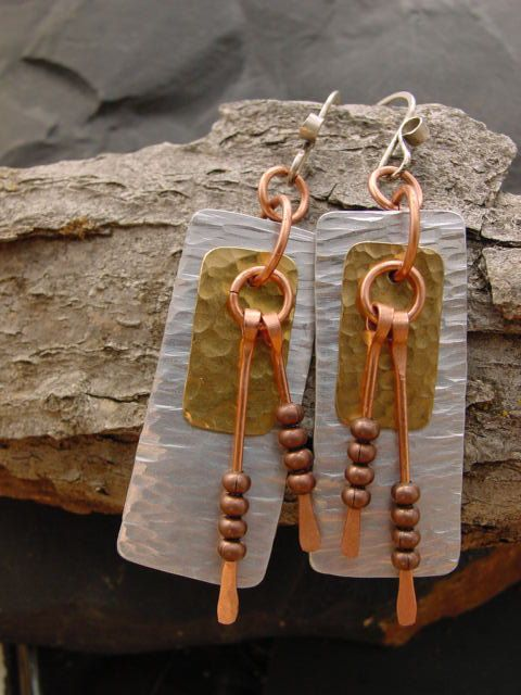 Handcrafted Jewelry Upcycled Dangle Earrings by PLJohnsonGlassArt, $28.00