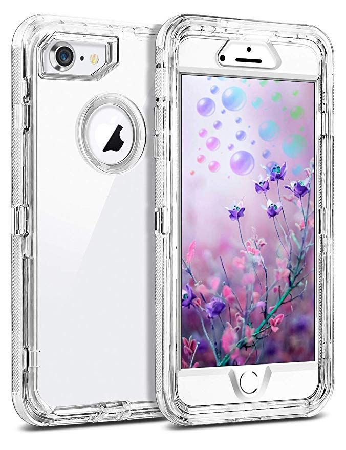 Iphone 8 Clear Case By Mxx Hybrid Heavy Duty Protective Dual Layer Shockproof Cover With Hard Pc Bumper Soft Tpu Back For Apple I Iphone Clear Cases Case