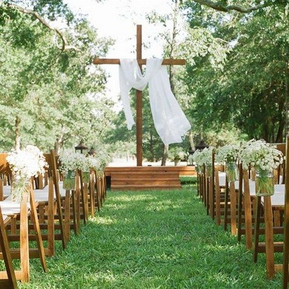 Backyard Christ-Centered Wedding Ceremony / http://www.deerpearlflowers.com/christian-wedding-corss-ideas/
