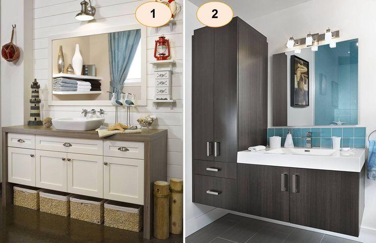 Deux styles complètement différents! Quelle salle de bain vous préférez?