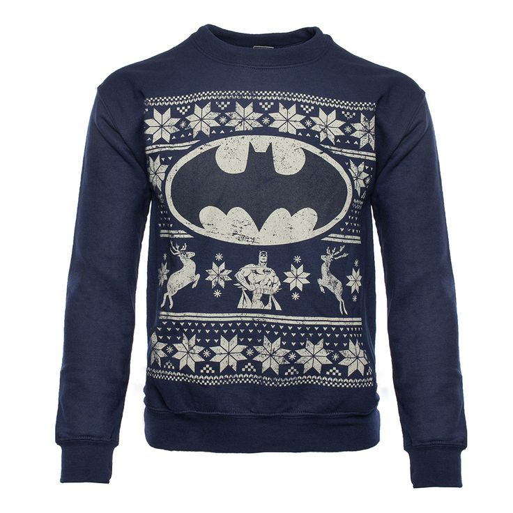 Product code:BM-67FFX Officially-licensed Batman merchandise Warm sweater with a printed design Design features Batman, the Bat Symbol, two reindeer, and other festive decorations Rich navy blue sweater features a distressed design An exact replica of the sweater Alfred gives Bruce Wayne every year for Christmas It's true. Each year Alfred gives Bruce Wayne the very …