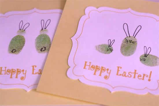 ♥  Thumb Print Bunny Easter Cards ♥ Such a cute idea!