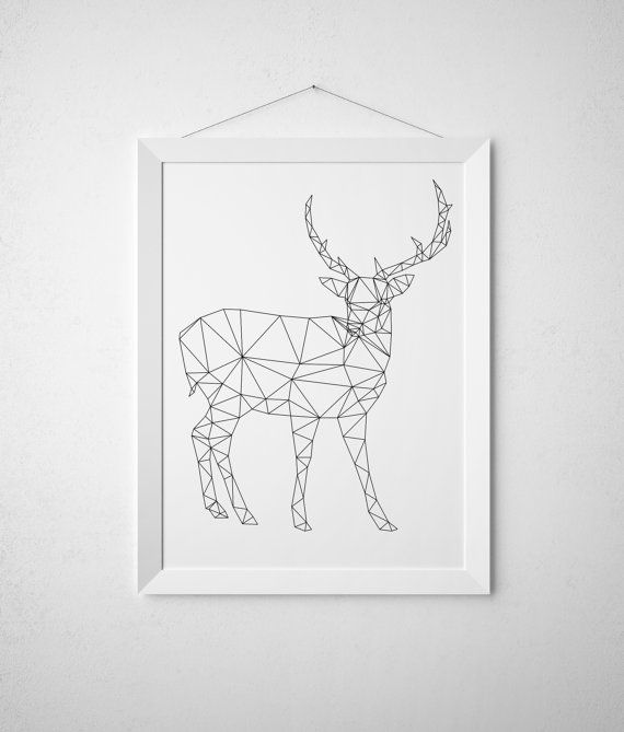 Line art Triangle decor Geometric deer print Animal poster TO317