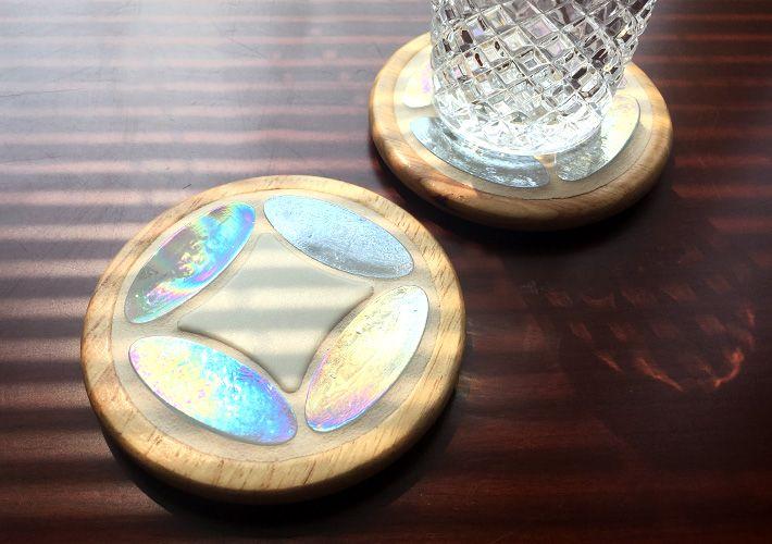 Tilecraft 009 ガラスタイルと木枠のコースター タイル通販 ボウクス タイルマーケット 木枠 モザイクタイル タイル
