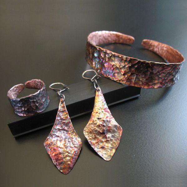 bransoleta,pierścionek,kolczyki,miedziane - Komplety - Biżuteria w ArsNeo