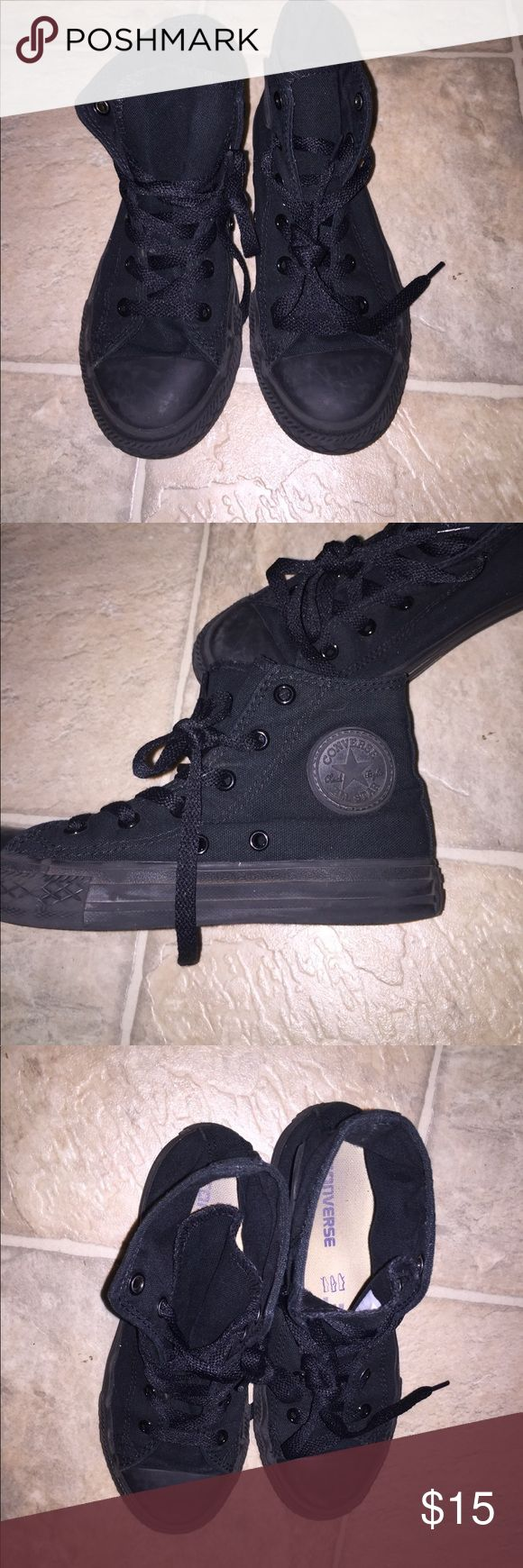 All Black Converse High Tops Excellent condition all black high tops Converse! Can be for a boy or girl, size 1. See pics for details. Converse Shoes Sneakers